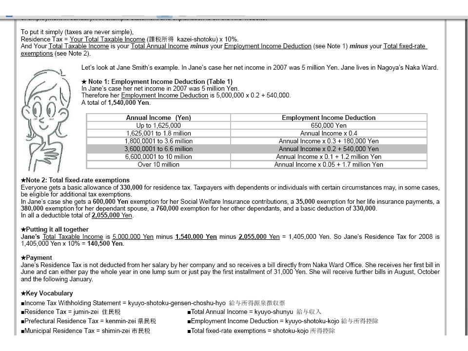 Nagoya International Site - Japan residence tax