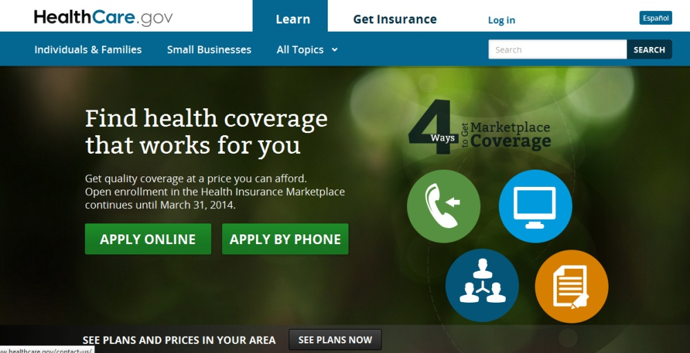 Face of Obamacare website gone.   Now, site emphasizes the four ways to enroll.